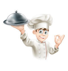 Happy chef holding platter vector