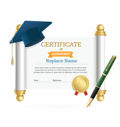 Graduated cap student and roll certificate vector
