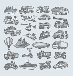 Transportation icons sketch vector