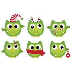 Cute beautiful xmas owls isolated on white vector