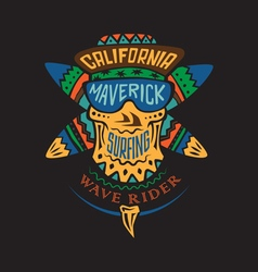 Surfing skull maverick color vector