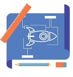 Blueprint with spaceship vector