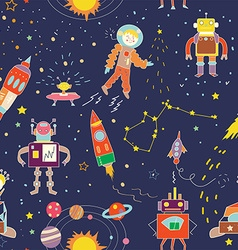 Space funny seamless pattern for kids - vector