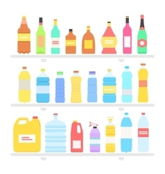 Bottle set design flat oil and beverage vector