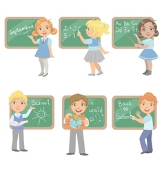 Kids writing on blackboard set vector