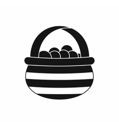 Basket with cranberries icon simple style vector