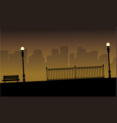 Beauty silhouette of street lamp with chair vector