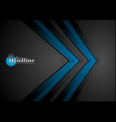Blue and black contrast tech arrows background vector