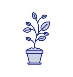 blue silhouette of plant in flower pot vector image