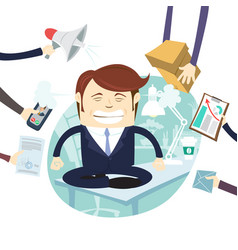Busy tired angry businessman multitasking at desk vector