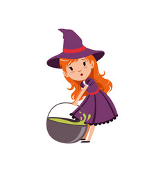 Cute small red-haired girl witch dragging cauldron vector