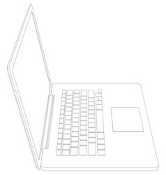 drawing of wire-frame open laptop vector image vector image