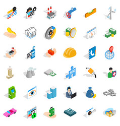 Firm icons set isometric style vector