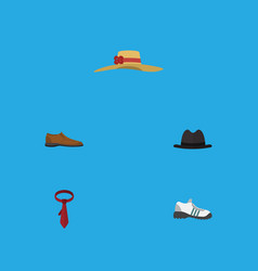 Flat icon garment set of sneakers elegant vector