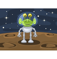Funny cartoon alien above planetoid surface vector