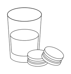 Glass of milk with cookies icon in outline style vector