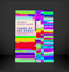Glitch background poster template vector