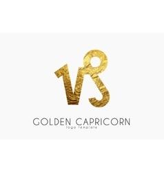 Golden capricorn Golden zodiac sign Capricorn vector image
