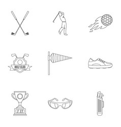 Golf equipment icons set outline style vector