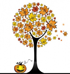 Halloween maple tree vector image vector image