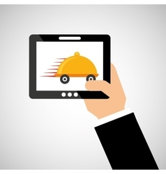 hand hold tablet delivery food vector image