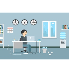 Happy businessman working with laptop office vector