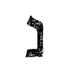 Hebrew letter Nun Shabby black font The Hebrew vector image