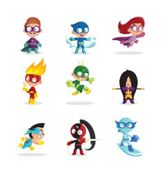 kids in colorful superhero costumes set funny vector image vector image
