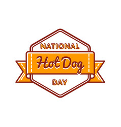 National hot dog day greeting emblem vector