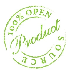 Open source green rubber stamp on white vector