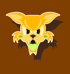 Paper sticker on theme angry cat animal vector