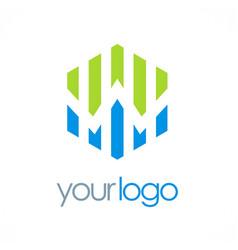 polygon business chart logo vector image