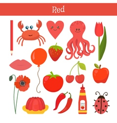 Red learn the color education set of primary vector