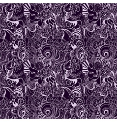 Seamless hand-drawn waves pattern vector image