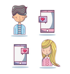 Set man and smartphone with heart and woman vector