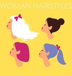 Set of female hairdo women avatars with different vector