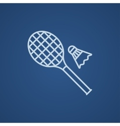 Shuttlecock and badminton racket line icon vector image vector image