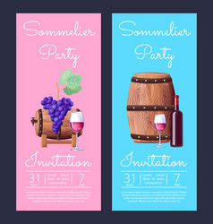 Sommelier party invitation on vector