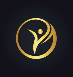 success woman beauty sport round gold logo vector image