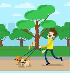 Young man walking dog in park vector