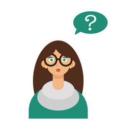 young woman with question marks vector image vector image