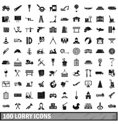 100 lorry icons set simple style vector