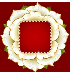 White rose circle frame vector