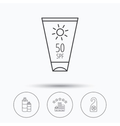 Hotel shampoo and sun cream icons vector