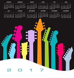 2017 calendar guitar head landscape vector