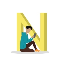 N letter and boy reading e book abc vector
