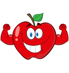Red apple with muscle arms vector