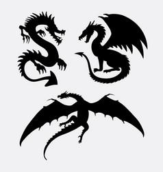 Dragon fantasy monster design silhouette vector