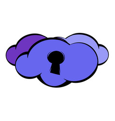 cloud with keyhole icon icon cartoon vector image
