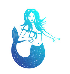 Mermaid with diving mask over white vector